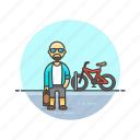 bike, cyclist, man, ride, transport, urban, vehicle icon