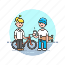 bike, board, coffee, cyclist, skater, team, urban icon