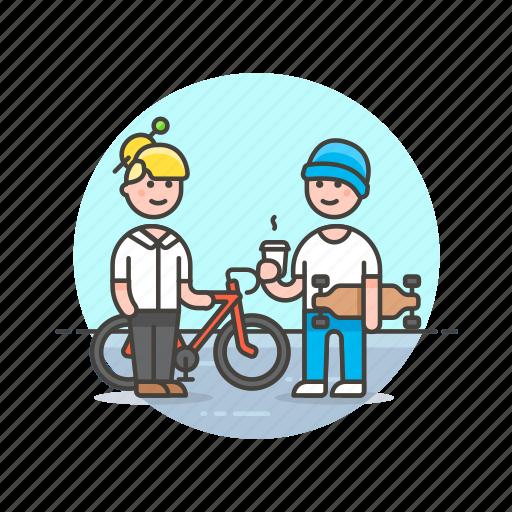 bike, board, coffee, cyclist, skater, team, urban icon