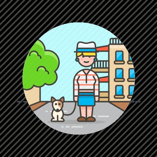 dog, exercise, outdoor, pet, urban, walk, woman icon