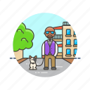 dog, exercise, man, nature, pet, urban, walk icon