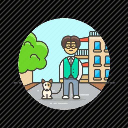dog, exercise, man, nature, pet, urban, walk icon