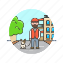 dog, exercise, man, outdoor, pet, urban, walk icon