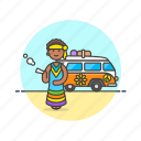 hippie, peace, smoke, truck, urban, van, weed icon