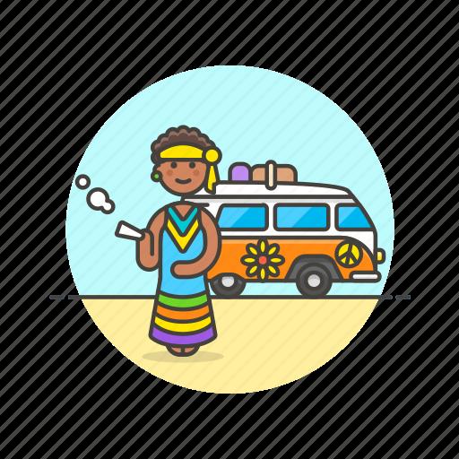 hippie, peace, smoke, truck, urban, van, weed icon
