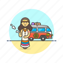 hippie, smoke, truck, urban, van, weed, woman icon