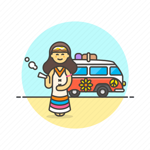 hippie, smoke, truck, urban, van, weed, woman icon