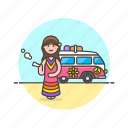 hippie, smoke, tribe, truck, urban, van, weed, woman icon