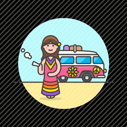 hippie, smoke, tribe, truck, urban, van, weed, woman icon