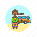 hippie, man, peace, truck, urban, van, vehicle icon