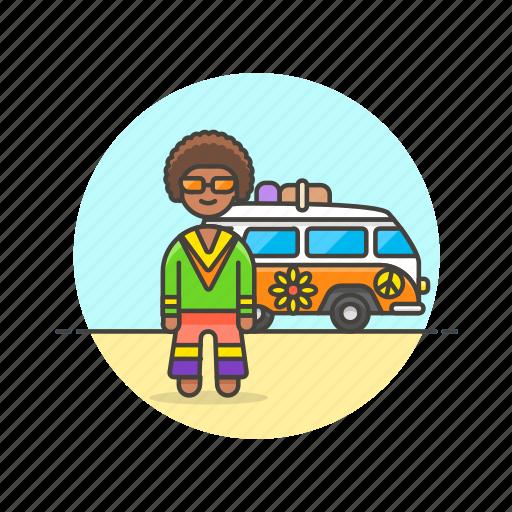 hippie, man, peace, truck, urban, van, vehicle icon
