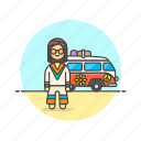 hippie, man, peace, transport, truck, urban, van icon