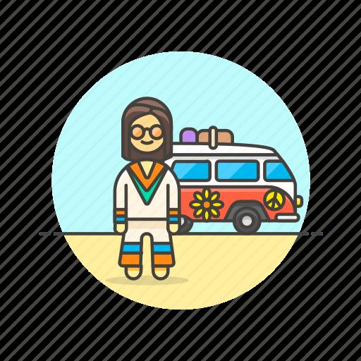 hippie, man, peace, transport, truck, urban, van icon
