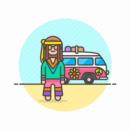 chill, hippie, peace, truck, urban, van, woman icon