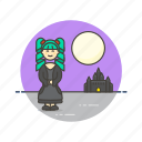 castle, knight, medieval, moon, night, urban, warrior, woman icon