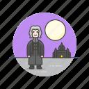 castle, knight, man, medieval, moon, night, urban, warrior icon