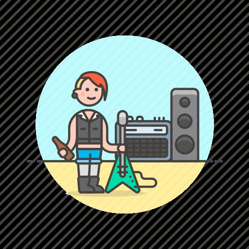 electric, guitar, music, play, punker, speaker, urban, woman icon