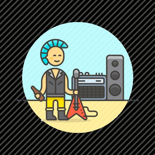 guitar, man, music, play, punker, speaker, urban icon