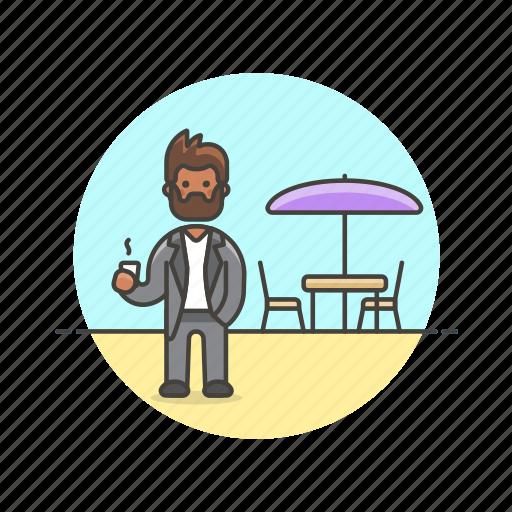 cafe, drink, formal, man, meeting, restaurant, urban icon