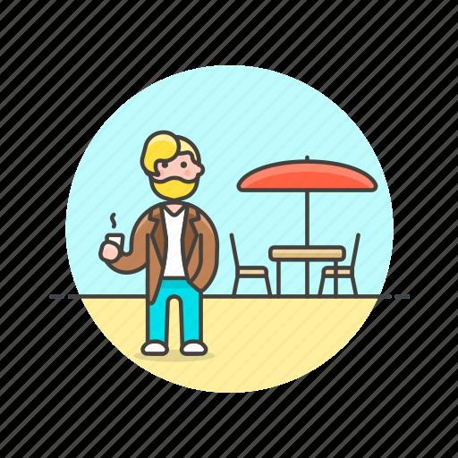 cafe, coffee, drink, man, meeting, restaurant, urban icon
