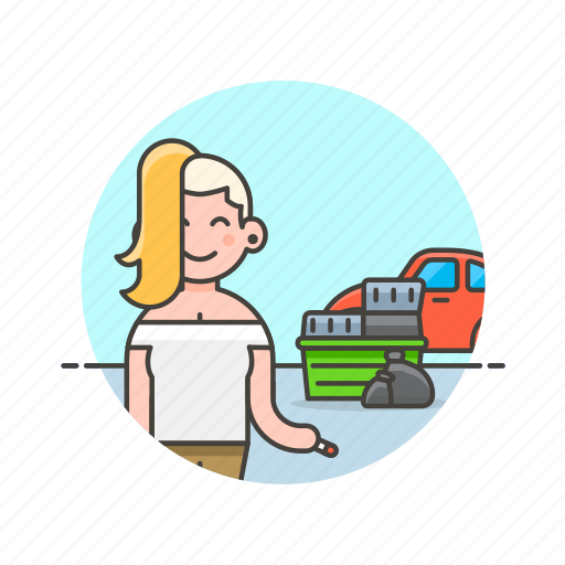 car, container, hoarder, trash, urban, vehicle, woman icon