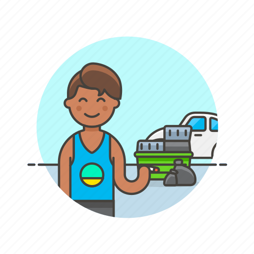 car, container, hoarder, man, trash, urban, vehicle icon