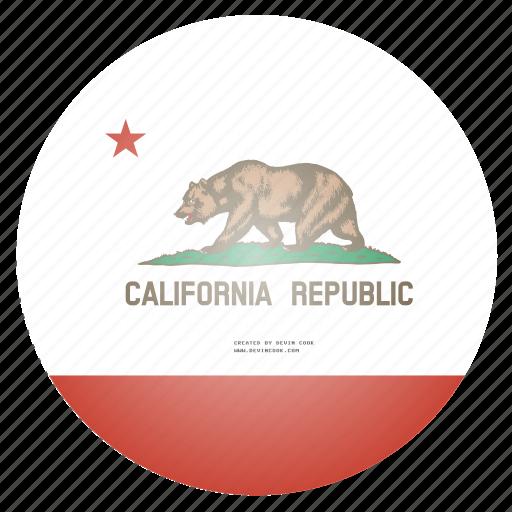 california, flag, state, us icon