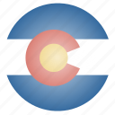 colorado, flag, state, us icon