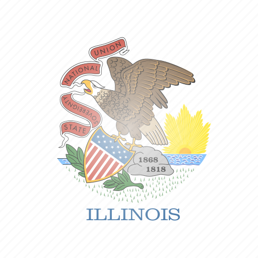 flag, illinois, state, us icon