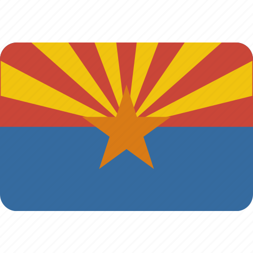 american, arizona, flag, rectangle, rounded, state icon