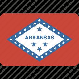 american, arkansas, flag, rectangular, rounded, state icon