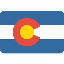 american, colorado, flag, rectangle, rounded, state icon