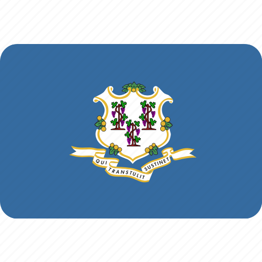 american, connecticut, flag, rectangular, rounded, state icon