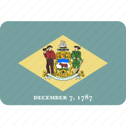 american, delaware, flag, rectangular, rounded, state icon