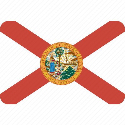 american, flag, florida, rectangular, rounded, state icon
