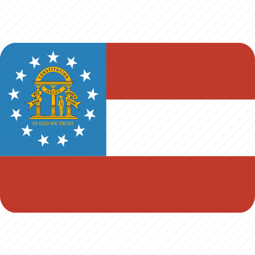 american, flag, georgia, rectangular, rounded, state icon