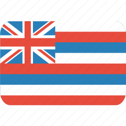 american, flag, hawaii, rectangle, rounded, state icon