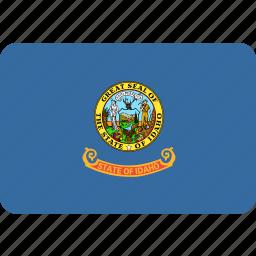 american, flag, idaho, rectangular, rounded, state icon