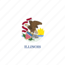 american, flag, illinois, rectangular, rounded, state icon