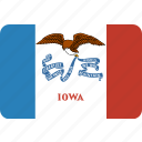 american, flag, iowa, rectangular, rounded, state icon