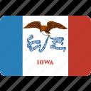american, flag, iowa, rectangular, rounded, state icon