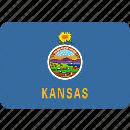 american, flag, kansas, rectangular, rounded, state icon