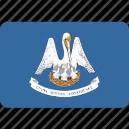 american, flag, louisiana, rectangular, rounded, state icon