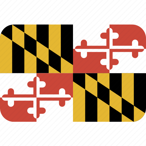 american, flag, maryland, rectangular, rounded, state icon