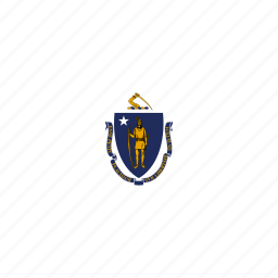 american, flag, massachusetts, rectangular, rounded, state icon
