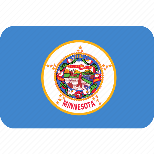 american, flag, minnesota, rectangular, rounded, state icon