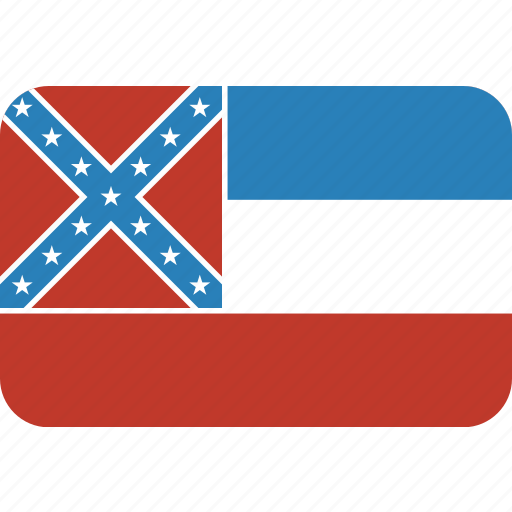 american, flag, mississippi, rectangular, rounded, state icon