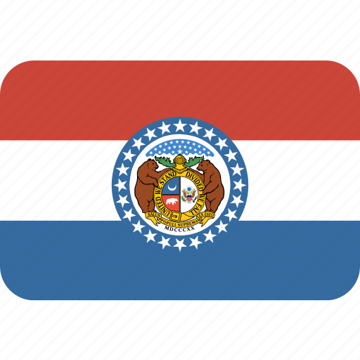 american, flag, missouri, rectangular, rounded, state icon