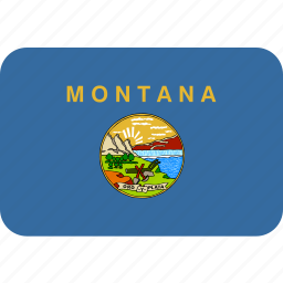 american, flag, montana, rectangular, rounded, state icon