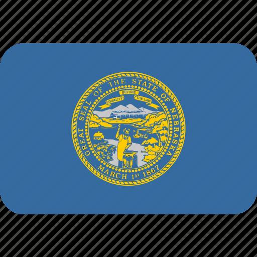 american, flag, nebraska, rectangular, rounded, state icon
